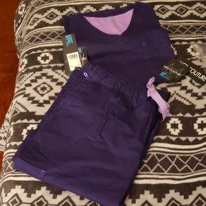 Med couture MC2 plum Large/Large Tall scrub set